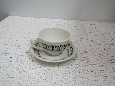 Homer Laughlin Best China Black Scroll Coffee Cup and saucer