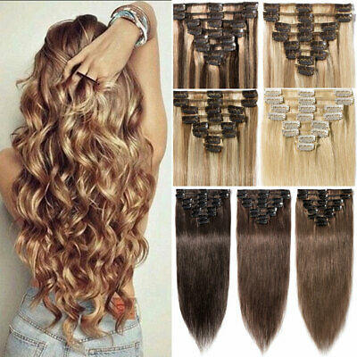 Long&Short Clip In Remy Real Human Hair Extensions Full Head Best Weft UK STORE