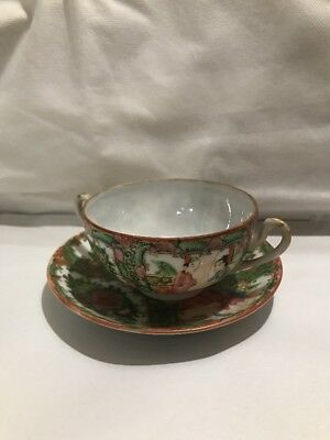 Antique Chinese Export Famille Rose Medallion Cream Soup Cup Saucer China Mark