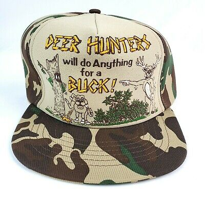 Vintage Funny Trucker Hat Deer Hunters Will Do.. Camo & Tan Snapback USA