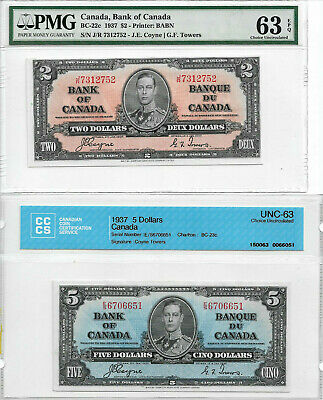 1937 $2 & $5 Bank of Canada Notes CH63 CCCS & PMG EPQ