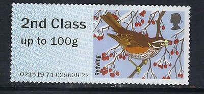 GB 2015 QE2 2nd Class up to 100 gm Post & Go Redwing Bird No Gum ( B406 )