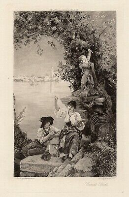 "Wonderful Henry Woods Antique Etching ""Cupid Casts his Spell"" SIGNED Framed COA"