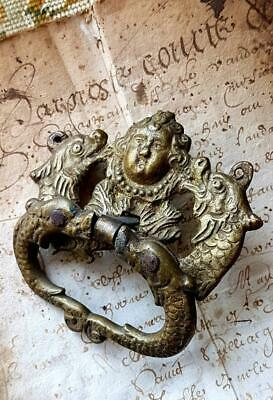 Rare 19thC Antique French Gilt Bronzed Medieval Face & Sea Serpents Drawer Pull