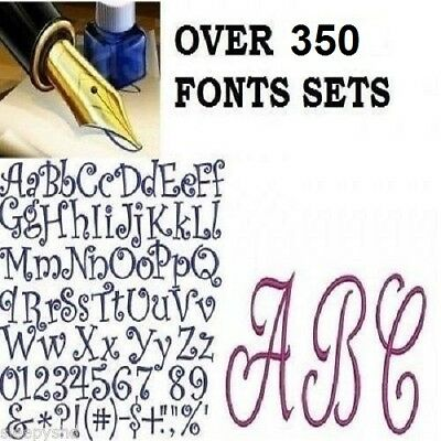 Over 300 Alphabet Fonts  Embroidery Machine Designs Brother Baby Lock PES  SALE!