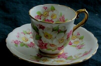 Stanley Fine Bone China England demitasse demi Tea Cup & Saucer, Dogwood