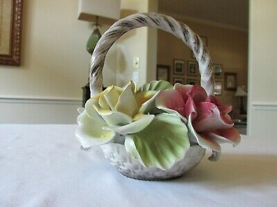 Vintage Capodimonte Italy Porcelain Red & Yellow Rose Basket Centerpiece