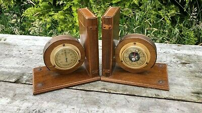 A Beautiful Vintage Pair Of Wooden Barometer & Thermometer Book Ends *
