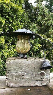Fantastic Vintage Metal And Glass Black Outdoor Light Lantern*