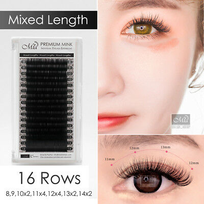 Mixed Length Faux Mink Lash Synthetic Mink Eyelash Extension Semi Permanent