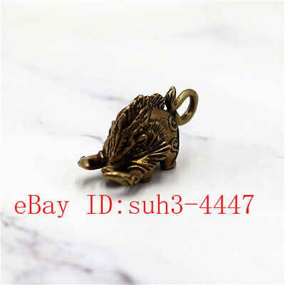 Chinese  Exquisite Copper Brass Wild boar Small Fengshui Statue Ornament
