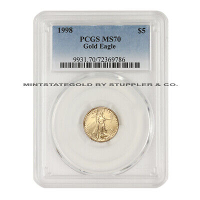 1998 $5 American Gold Eagle PCGS MS70 1/10 oz 22KT coin graded Modern Issue coin