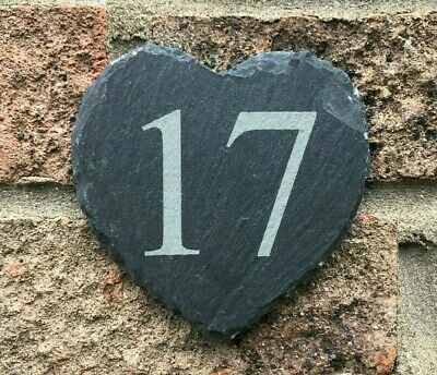 Personalised Engraved Slate Heart House Door Number Plaque Plate Sign