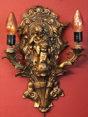 RARE Vintage Metal METAL CANDELABRA Ornate CHERUB Lights Antique Sconce ELECTRIC