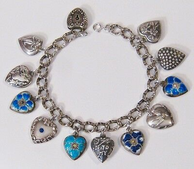 Antique Silver Repose Sterling Enamel Puffy Hearts Padlock Bracelet SUPER SALE
