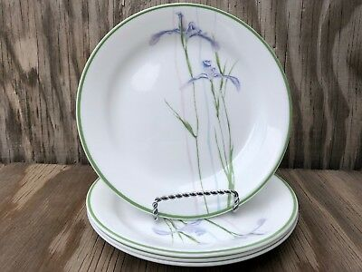 Corelle Dishes Shadow Iris White Small Rimmed B&B Or Dessert Plates Set Of 4