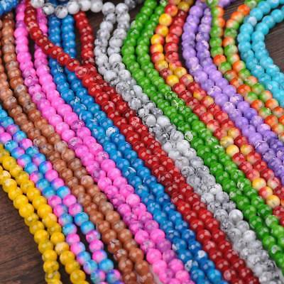50pcs 8mm Double Color Glass Round Smooth Spacer Loose Charms Beads DIY Findings