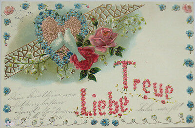 """"""" Valentine's Day,Pigeons,Roses,Saying,Heart """" 1905,Embossed Postcard (12399)"""