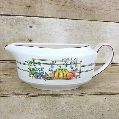 Villeroy Boch Mon Jardin Gravy Boat Various Fruit Yellow Fence Red Trim 90s VTG