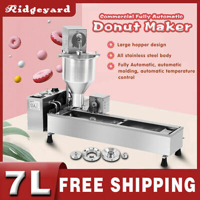 220V 3000W Commercial Automatic Donut Maker Making Machine Oil Tank 3 Sets Mold