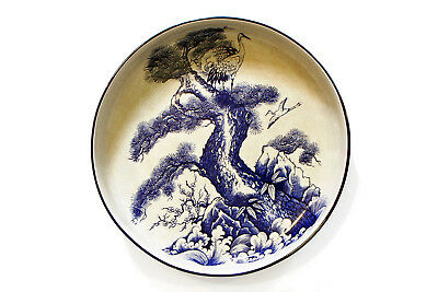 Antique 1800s Bowl with Cranes and Pine Tree, Japanese Imari Blue and White Bowl