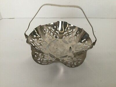 VTG MCM Leonard Silver plate Footed w/ Folding Handle Serving Dish Basket Bowl