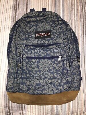 e391b751e VINTAGE JANSPORT BACKPACK - Floral Tapestry, Suede Bottom MADE IN ...