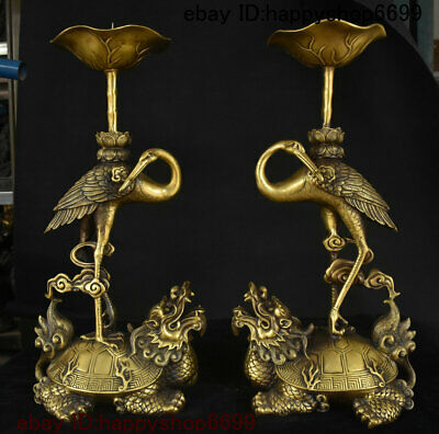 Folk China Bronze Dragon Turtle Red-crowned crane Candle Holder Candlestick Pair
