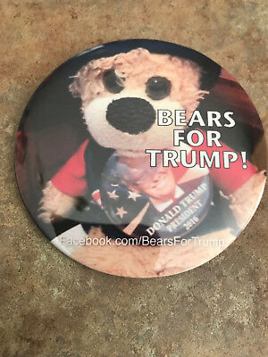 """""""Bears for Trump""""  Donald Trump for President button pin 3 Inch"""