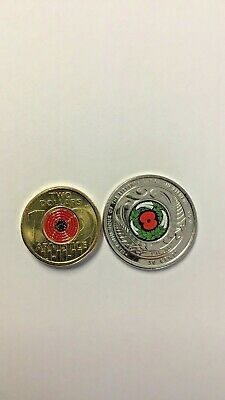 $2 Coin Roll 1 x 2018 ARMISTICE RED POPPY and 1 x 2018 NZ ARMISTICE 50 CENTS Unc