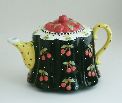 Mary Engelbreit ME INK Michel and Co. Black Cherries Teapot