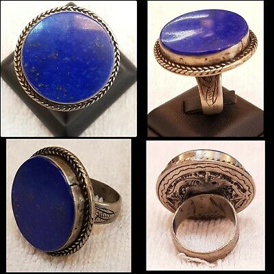 Lapis lazuli Stone Afghanistan Vintage Beautiful Old Silver Wonderful Rare Ring