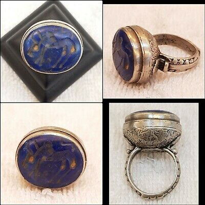 Amizing Ancient Old Lapis lazuli Stone Bull Intaglio Old Silver Antique Ring