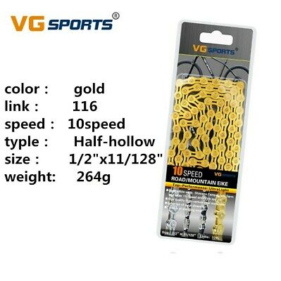 VG Sports 10 Speed Bicycle Chain Half-Hollow 10S 116L Road Mountain Bike Chain