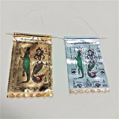 Pha Yant Amulet Silver&Gold Lucky Business Wealth Happiness Magical Clothe HOT!