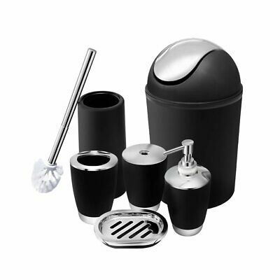Bathroom Accessories Set 6 Pc Toothbrush Holder Soap Dish Toilet Brush Trash Can