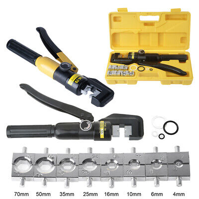 8 Ton Hydraulic Crimper Plier Crimping Tool Kit Lugs Battery Wire Cable Cutter