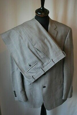 Marks & Spencer Alfred Brown grey check wool suit size medium chest 42 waist 36