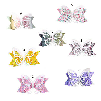 Toddler Kid Butterfly Bows Alligator Hair Clip Gradient Colored Sequins Hairgrip