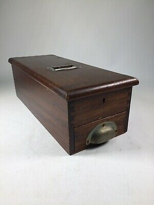 Old Wooden Antique Till Box Vintage Cash Drawer Register With Key Stage Prop