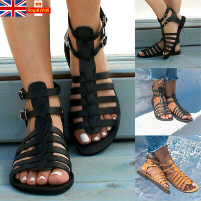UK Women Rome Gladiator Sandals Ankle Strap Roma Beach Holiday Shoes Size 4-8