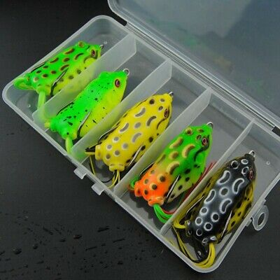 5x 5.5cm 15g Soft Frog Fishing Lures Topwater Bass Fishing Hook Bait Box Latest