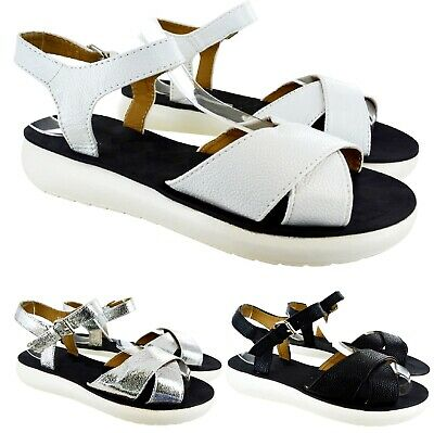 Ladies Womens Flat Low Heel Strap Ankle Summer Hoilday Beach Sandals Shoes Size