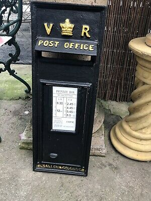 VR Black Victorian Style Post Box Front In Cast Iron Royal Mail Post Office Box