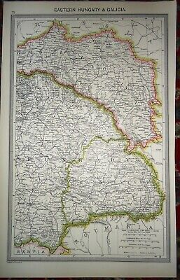 Antique MAP ~ EASTERN HUNGARY & GALICIA ~ HARMSWORTH c1900