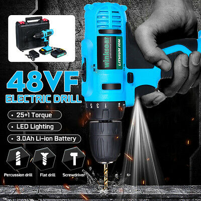 25+1 Speed Cordless Drill Electric Impact Wrench LED Light+Li-Ion Battery