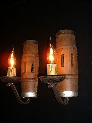 Antique French wood and wrought iron sconces Wagon wheel France