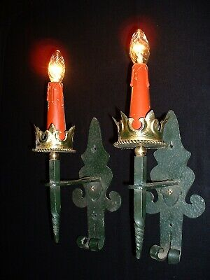 Old French wrought iron sconces Medieval Gothic style 2 pairs available France