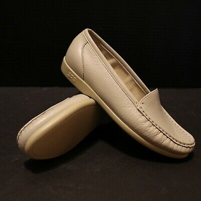 SAS Simplify Beige Leather Shoes Women 6.5 M Tripad Comfort USA Slip On Loafer