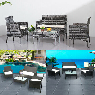 4Pieces Rattan Garden Furniture Weave Wicker Sofa Chair Table Patio Conservatory